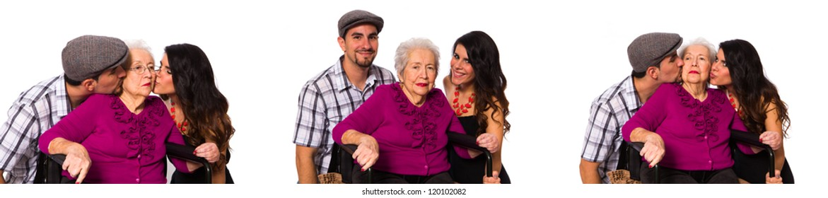 Grandchildren with their elderly handicapped grandmother on a white background.