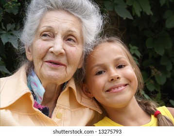 Granddaughter and her grandmother talking