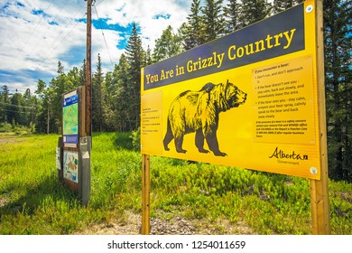 Grande Cache Alberta Canada on June 22, 2018 warning of Grizzlybaer in