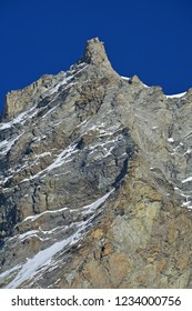 The Grande Gendarme on the way up the Weisshorn, a 4,000m summit in its own right. In the Val d'Anniviers, Switzerland