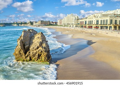 Grande Plage beach and rock on foreground, Biarritz, Aquitaine, France
