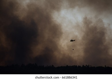 PEDROGÃO GRANDE, PORTUGAL - JUNE 17: Portugal wildfire helicopter firefighting 4
