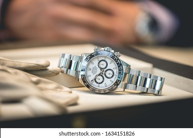 Grande Praire, Canada - July 17, 2017: Professionally presented Rolex watch with official accessories