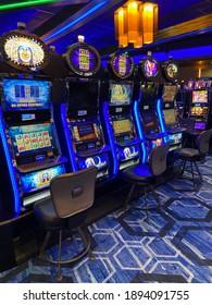 Grande Rhonde, Oregon USA January 14, 2021 Row of Socially Distanced Slot Machines at Spirit Mountain Casino