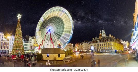 Grande roue sur la Grand-Place de Lille�Noel