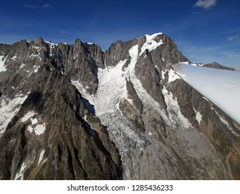 Grandes Jorasses. Aerial View from glider. Italian Alps