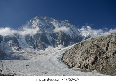 Grandes Jorasses peak above the Leschaux glacier in the french Alps near Chamonix