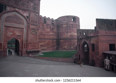 Grandeur of the interior of Agra Fort also called as the Red fort made of red stones and is the islamic architecture marvel and the Mughal Dynasty residence having various arches doors and windows