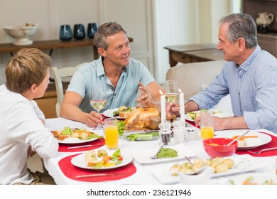 Grandfather, father and son speaking together at home in the living room