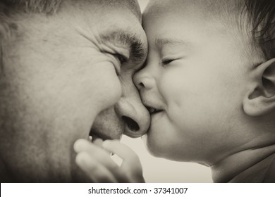 Grandfather and grandson. black and white. Focus on child