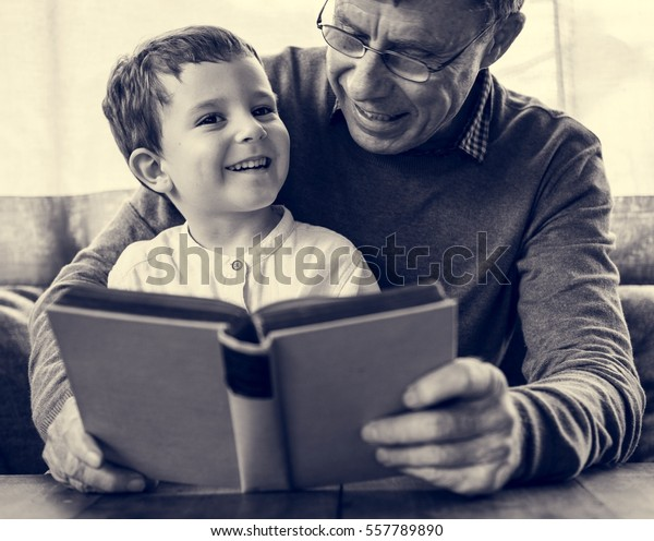 Grandfather Grandson Family Reading Book