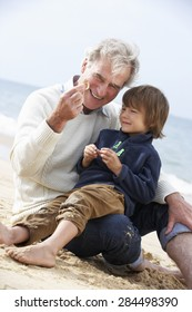 Grandfather And Grandson Looking at Shell On Beach Together