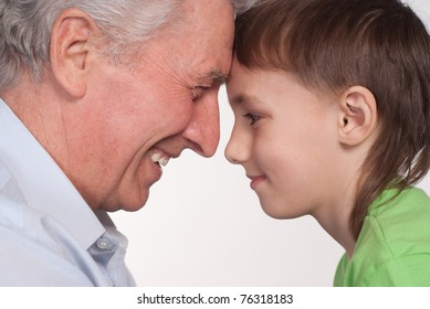 grandfather and grandson on a white background
