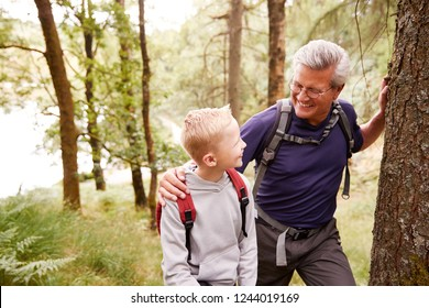Grandfather and grandson taking a break while hiking together in a forest, close up, looking at each other