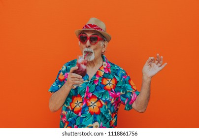 Grandfather portraits on colored backgrounds