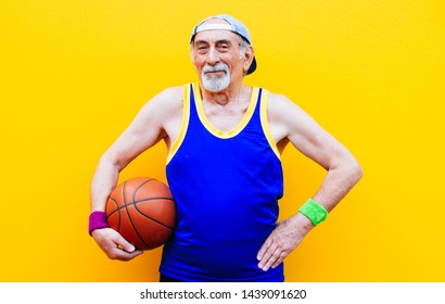 Grandfather portraits on colored backgrounds. Funny moments with senior old man