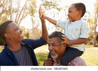 Grandfather With Son And Grandson Having Fun In Park