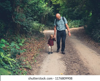A grandfather and a toddler are walking in the woods