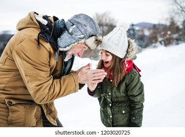 Grandfather warming hands of a small girl in snowy nature on a winter day.