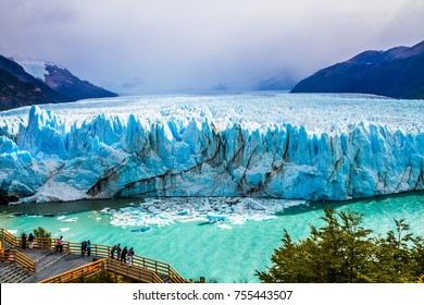 Grandiose glacier Perito Moreno in the Patagonia. Argentine province of Santa Cruz. The world's third largest fresh water reserve. The concept of active and extreme tourism