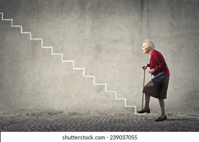 Grandma going up the stairs