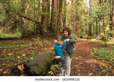 Grandma helping grandson during a hike in the forest
