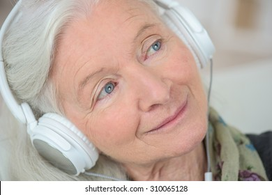 Grandma listening to music