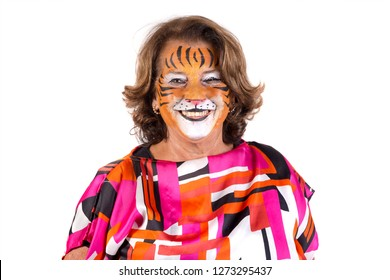 Grandmother with animal face-paint isolated in white