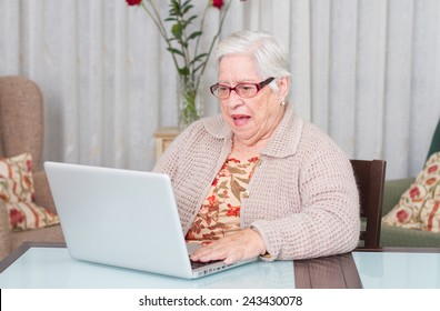 Grandmother astonished using laptop at home.