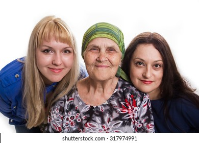Grandmother both two granddaughters positive and happy, isolated.