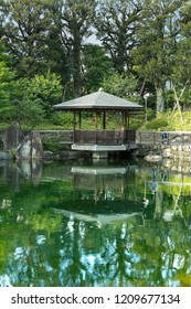 Grandmother came back for the obon festival that honors the spirits of the ancestors. She admires the pond by remembering the past near the exagonal Gazebo Ukimido in the central pond of Mejiro Garden