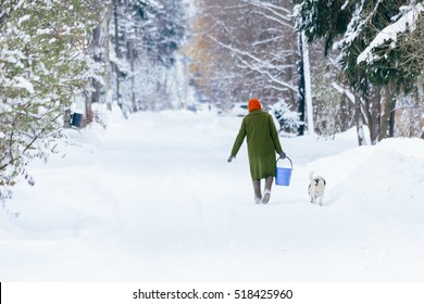 grandmother carries a bucket on a snowy road with a dog