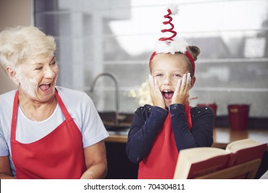 Grandmother with child having a fun