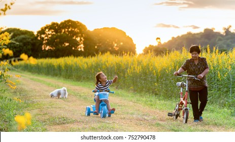 Grandmother and daughter with happy family enjoying life together at meadow; Asian family Riding bicycles on the street; Healthy lifestyle concept and happy family concept  soft and select focus.