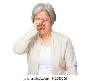 Grandmother feeling painful of the head
