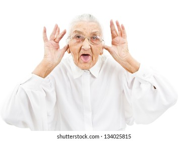 grandmother with funny expressions ona n isoltaed background