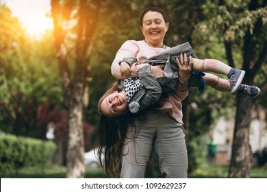 Grandmother and grandchild in park