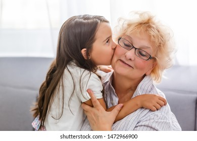 grandmother and granddaughter, celebrating mothers day or 8 march concept