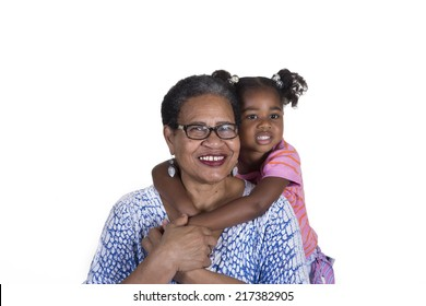Grandmother and granddaughter isolated