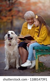 Grandmother with granddaughter reading the book with their dog in the autumn park