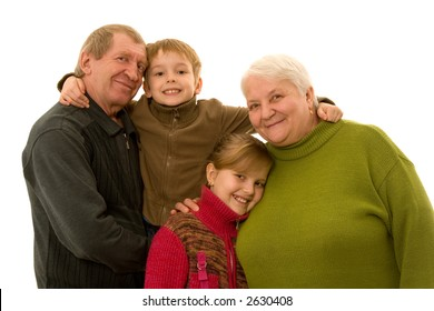 The grandmother and the grandfather with grandchild