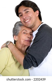grandmother with grandson smiling over white