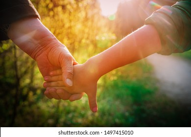 grandmother holding grandchild hand in nature, parenting concept