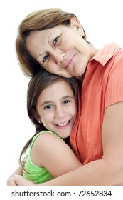 Grandmother hugging her little granddaughter isolated on a white background