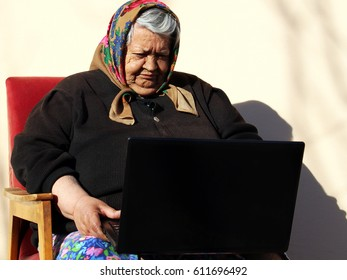 grandmother with laptop