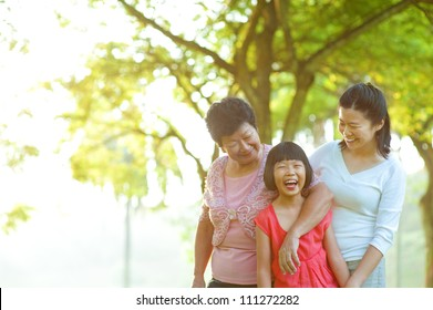 Grandmother, mother and me at outdoor park