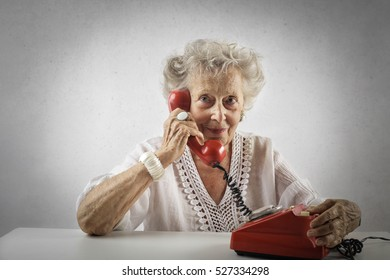 Grandmother on the phone