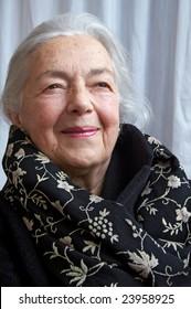 Grandmother portrait with elegant scarf