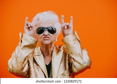 Grandmother portraits on colored backgrounds