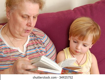 grandmother read the book for her grandson.